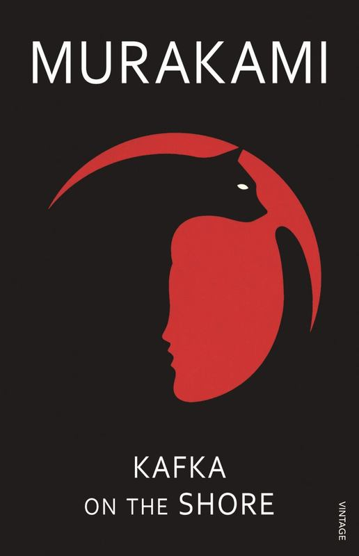 Picture of Murakami's Kakfa On The Shore Cover, a black background with cat and red face