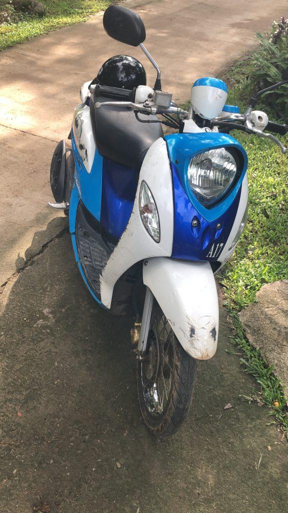My scooter, hired in Pai. It's a Suzuki Jelato 125i